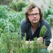 Hugh Fearnley-Whittingstall picking Rosemary in the Kitchen Garden - River Cottage