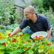 Craig Picking Nasturtium Flowers - River Cottage
