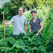Ben & Kate amongst 'East Friesian Palm' Kale - Real Seed Catalogue