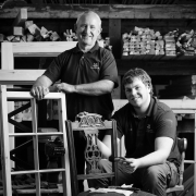 Dennis Scott and apprentice Dan Rice  Woodworking at Wallington